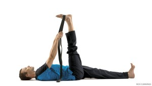 Yoga pose for low back pain Reclining Hand-to-Big-Toe Pose A