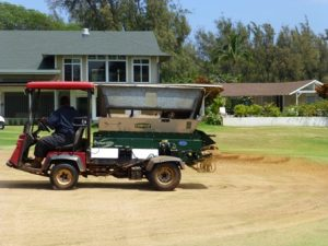 Aeration on the 18th hole at Maui Country Club's Golf Course