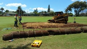 Construction of the ladies tees at Maui Country Club Golf Course