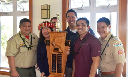 Winner Trophy Sponsors L-R TJ Cordero Mia Hew Scott Neering Kelii Wunder Bryant Hamai Robert Nakagawa lr