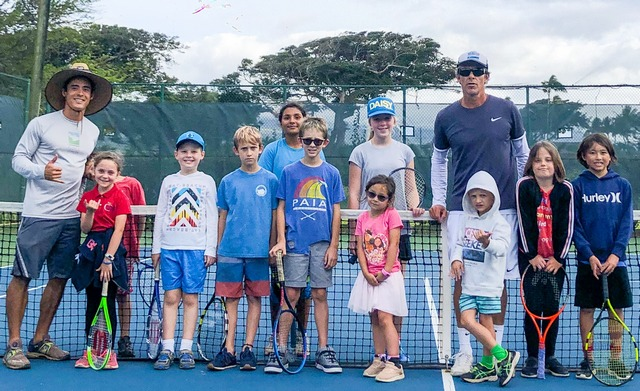 Junior Tennis players & pros at Maui Country Club